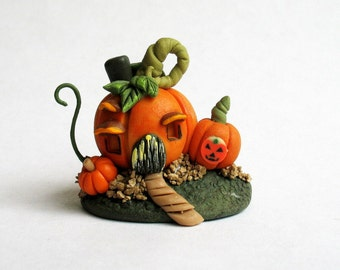 Miniature  Halloween Whimsy Pumpkin House  OOAK by C. Rohal