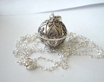 "16mm Mexican Bola Sterling Silver Maternity Pregnancy Harmony ball Chime Necklace 36"" chain (68)"