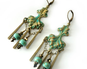 Verdigris Patina Earrings, Antique Brass, Bohemian, Turquoise, Long Brass Bar Drops, Chain, Beaded Jewelry, Beaded Boho Chandelier Earrings