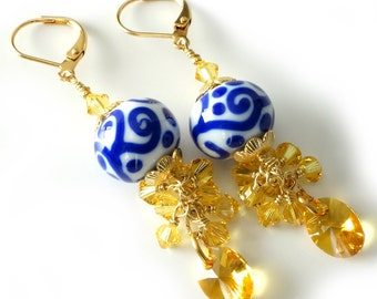 Lampwork and Crystal Earrings, Blue and White Lampwork, Sunshine Yellow Swarovski Crystals, Summer Beaded Jewelry, Cluster Earrings, OOAK