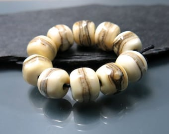 Handmade Lampwork Nugget Beads by GlassBeadArt ... Ivory Nuggets ... SRA F12 ... 10mm