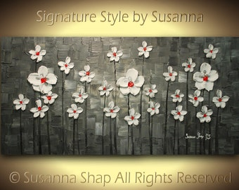 ORIGINAL Flower Landscape Oil Painting Large White Blossom Abstract Thick Texture Black Red Modern Palette Knife Art by Susanna Made2Order