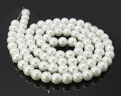6mm White Pearlized Glass Pearl Round Beads
