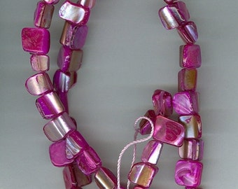 CLEARANCE Hot Pink Shell Nugget Gemstone Beads Dyed