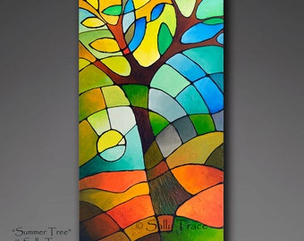 Original abstract painting, abstract landscape tree of life painting, textured painting