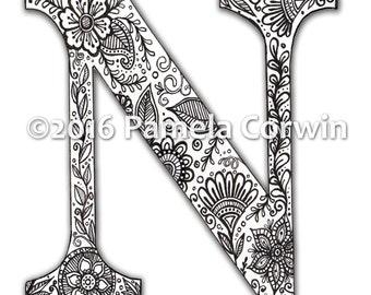 N Monogram Coloring Page