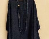 Indigo dyed linen-cotton top