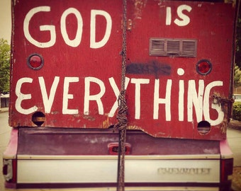 """Old Red Truck Photo // """"God is Everything"""" Quote // Rustic Red Truck Photo // 4x4 Print // 5x5 Print // Free Shipping in US"""