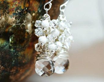 Bridal Earrings, White Pearl and Crystal Cluster Earrings, Sterling Silver Stardust Beads, Handmade Wedding Earrings, Dangle Earrings
