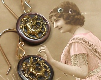 Dragon BUTTON earrings, Victorian Beasts on pearl & gold. Antique Button Jewellery.
