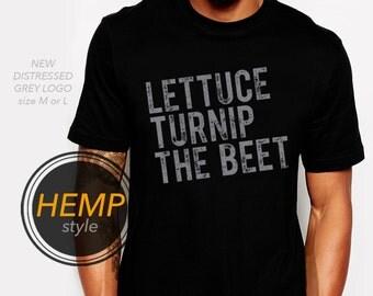 ORGANIC lettuce turnip the beet ® trademark brand official site - black hemp and organic cotton shirt with distressed logo - M through 3XL