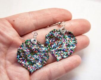 Confetti Glitter Aspen Leaf Earrings, Limited Edition, Bridesmaid Earrings