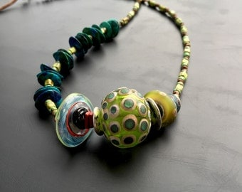Handmade lampwork glass sea urchin statement necklace by Lori Lochner Sea green and turquoise layering tribal necklace