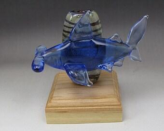 Handmade Lampwork Glass Shark Focal Bead by Jason Powers SRA
