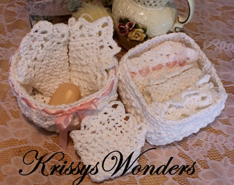 Ebook - Round Basket Crochet Pattern with Lace - Square Basket - Crochet Pattern for Lace Edge Washcloths - A Touch of Downton Spa Set