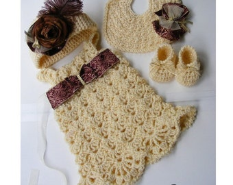 Crochet Baby Dress Hat w/Pinwheel Bow Crochet Booties and Bib- Custom Order Vintage Inspired Downton Abbey Set