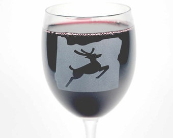 Oregon Stag Wine Glass - Portland state map and leaping deer