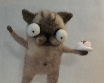Birthday kitty Siamese cat  Ooak hand needle felted artdoll
