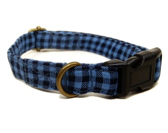 Maverick - Blue Black Plaid Organic Cotton CAT Collar Breakaway Safety - All Antique Brass Hardware