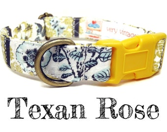 "Vintage Dog Collar - Floral Roses Dog Collar - Girl Dog Collar - Shabby Chic Dog Collar - Antique Brass Hardware - ""Texan Rose"""