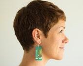 "Caelifera, Paper & Wood Earrings, 1x2.25"""