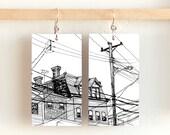 """Walking in Bloomfield, Paper & Wood Earrings, 1.25x2.25"""""""