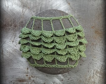 Home Decor, Crochet Lace Stone, Table Decoration, Handmade, Original, Nature, Tutu, Green, Ruffled, Monicaj