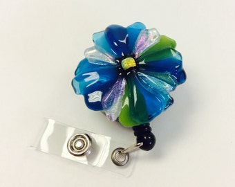 Retractable Badge Holder Fused Glass Turquoise Flower
