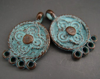 Naos - NEW Etruscan Gypsy Bohemian Earring Charms Pair - Mykonos Greek Copper Antiqued Green Turquoise