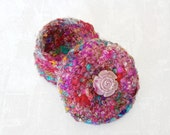 Silk Sari Thread Basket with Rose Flower Embellished Lid - Handmade Unique Decorative Jewelry Box - Home Decor Gift for Mother's Day STB047