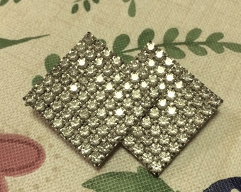 Geometric Vintage Rhinestone Glam Double Square Rectangle Pin Brooch LotA8