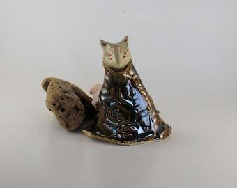 Kitsune totem figurine -  fox in greenish brown coat