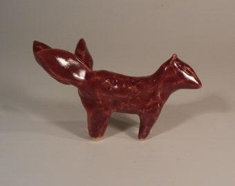 Red fox spirit figurine - three tailed kitsune