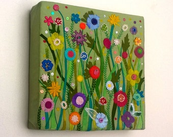 Flower Garden - Original Textile Artwork - Art Canvas