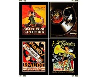 VP133-136 Vintage Poster Art - One 8x10 or Two 5x7s - Music Grafofoni Columbia, Pathe Disques Cassandre, Pianos Daude, A La Grosse Trumpet