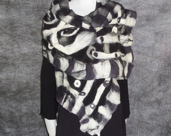 Nuno felted black and white scarf