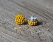 Mustard Stud Earrings - Yellow Stud Earrings - Mustard Posts - Yellow posts cluster earrings