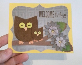 Owl Card, Baby Girl Card, Welcome Baby, Gender neutral Card, Baby Shower Gift, Baby Shower Card, Greeting Card, Handmade,New Baby Card,Owl