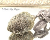 Rhinestone Encrusted Acorn Ornament Silver Shabby Fall Decoration Mixed Media Sculpture Lorelie Kay Original