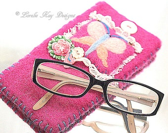 Needle Felted Glasses Case Pink Butterfly Eyeglass Cozy Case Lorelie Kay Designs