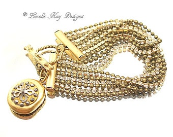 Antique Button Bracelet Rhinestones Chain Modern Look With Vintage Flair Toggle Clasp Charm Bracelet Lorelie Kay Designs