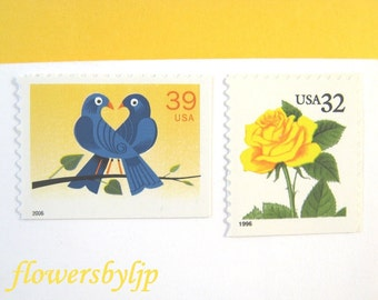 2017 Postage Rate Wedding Stamps, Golden Yellow Rose Blue Lovebirds Stamps, Mail 20 Wedding Invitations 2 oz, 70 cents love postage blue