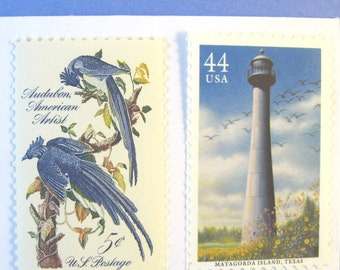 Nautical Blue Postage Stamps, Gulf Coast Lighthouse, Audubon Jay Birds, Mail 10 Cards, RSVPs 1 oz, 49 cents blue postage stamps, nature
