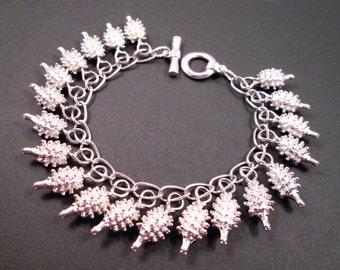Hedgehog Bracelet, Pretty Little Hedgehogs All in a Row, Silver Charm Bracelet, FREE Shipping U.S.