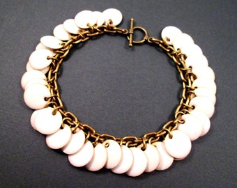 Enameled Disk Charm Bracelet, Creamy Off White and Brass Beaded Bracelet, FREE Shipping U.S.