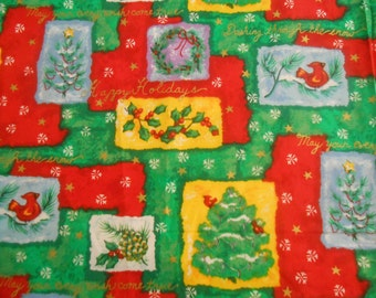 Christmas Fabric, Red and Green with Birds, Christmas Trees and Holly 1 Yard Cotton Quilt Christmas Fabric