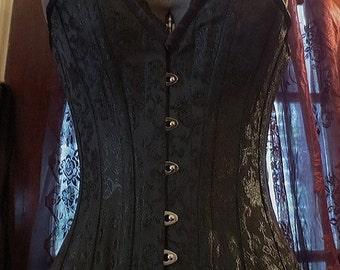 SALE Gothic Black Brocade Deep V Overbust Corset Size 20