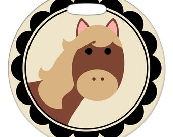 Luggage Tag - Horse Framed - 2.5 inch or 4 Inch Round Large Plastic Bag Tag