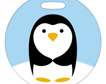 Luggage Tag - Cute Little Penguin - 2.5 inch or 4 Inch Round Plastic Bag Tag