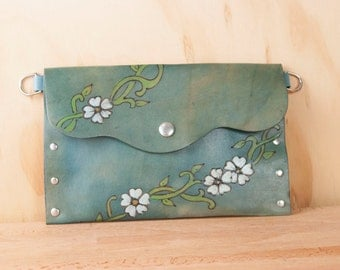 Pouch - Clutch - Wristlet - Waist Bag - Small Purse - Make-up Bag - Leather in the Willow Pattern with flowers and vines - Blue Leather